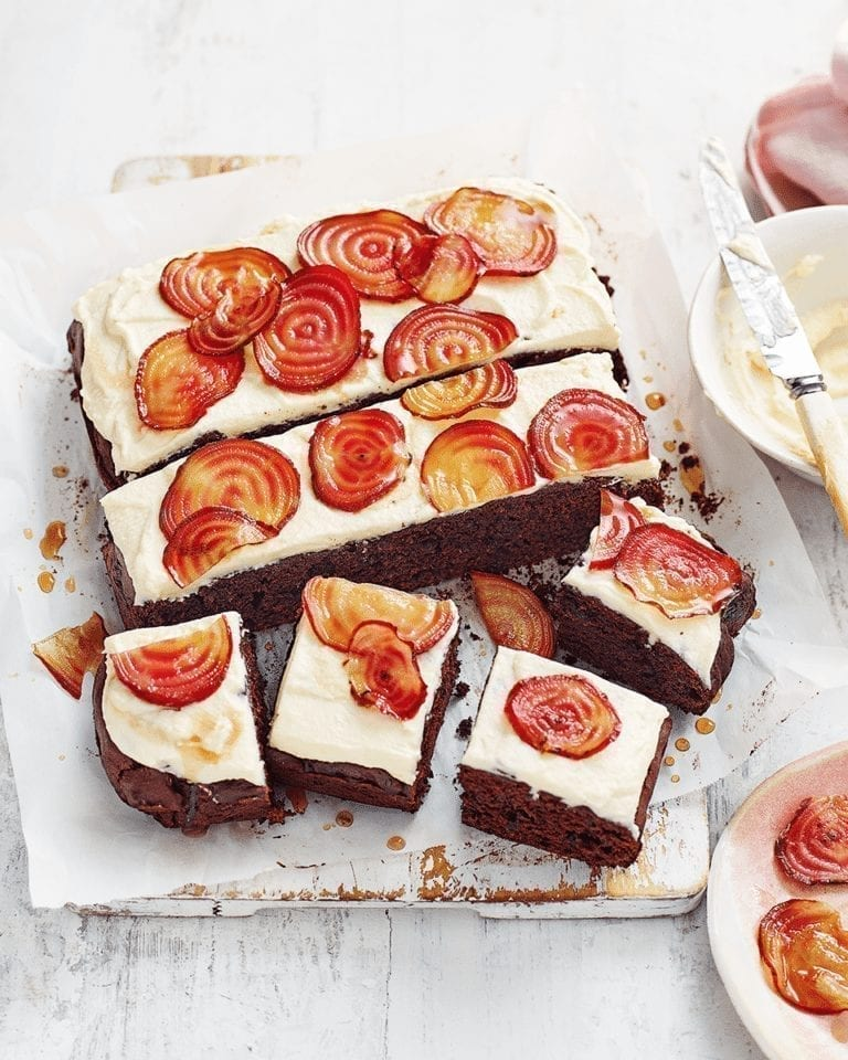 Beetroot and chocolate tray bake