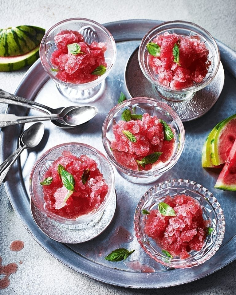 Watermelon, vodka and herb granita