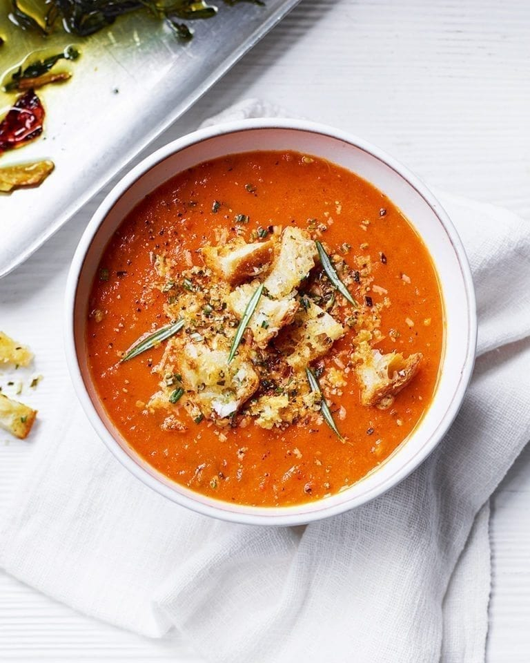 Roasted tomato soup with croutons