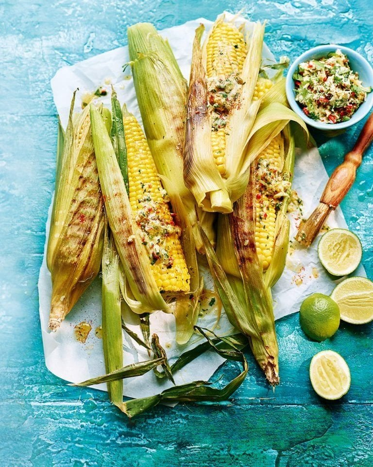 Corn on the cob with cheese and chilli butter