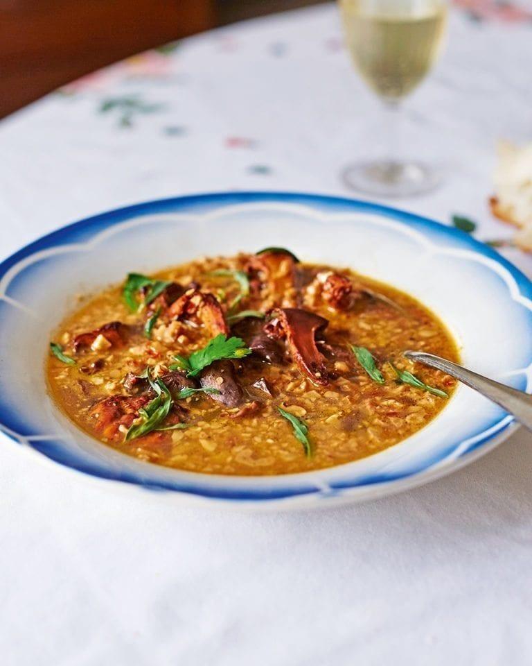 Shechamandy (walnut soup) with mushrooms