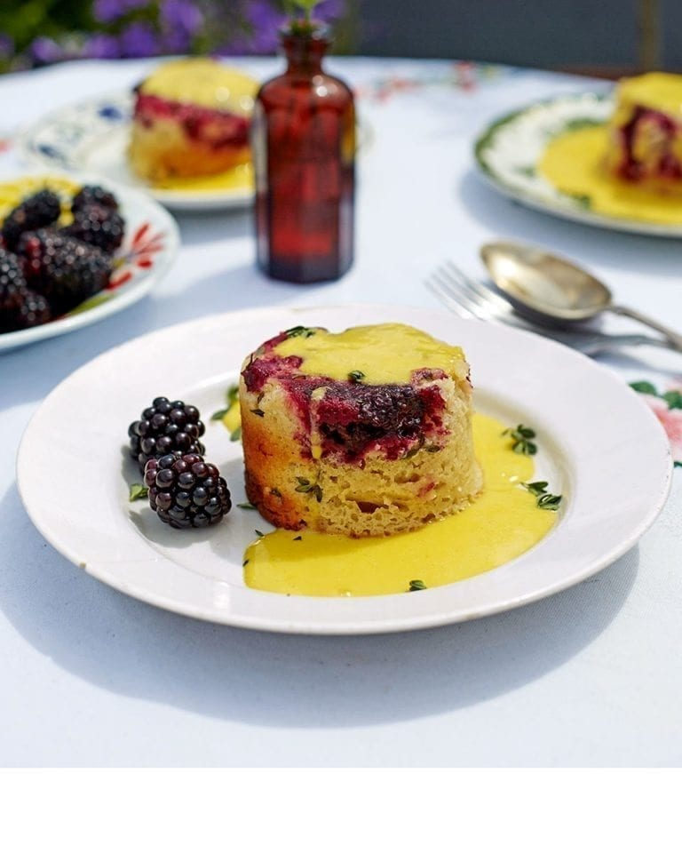 Blackberry and thyme steamed puddings with bay custard