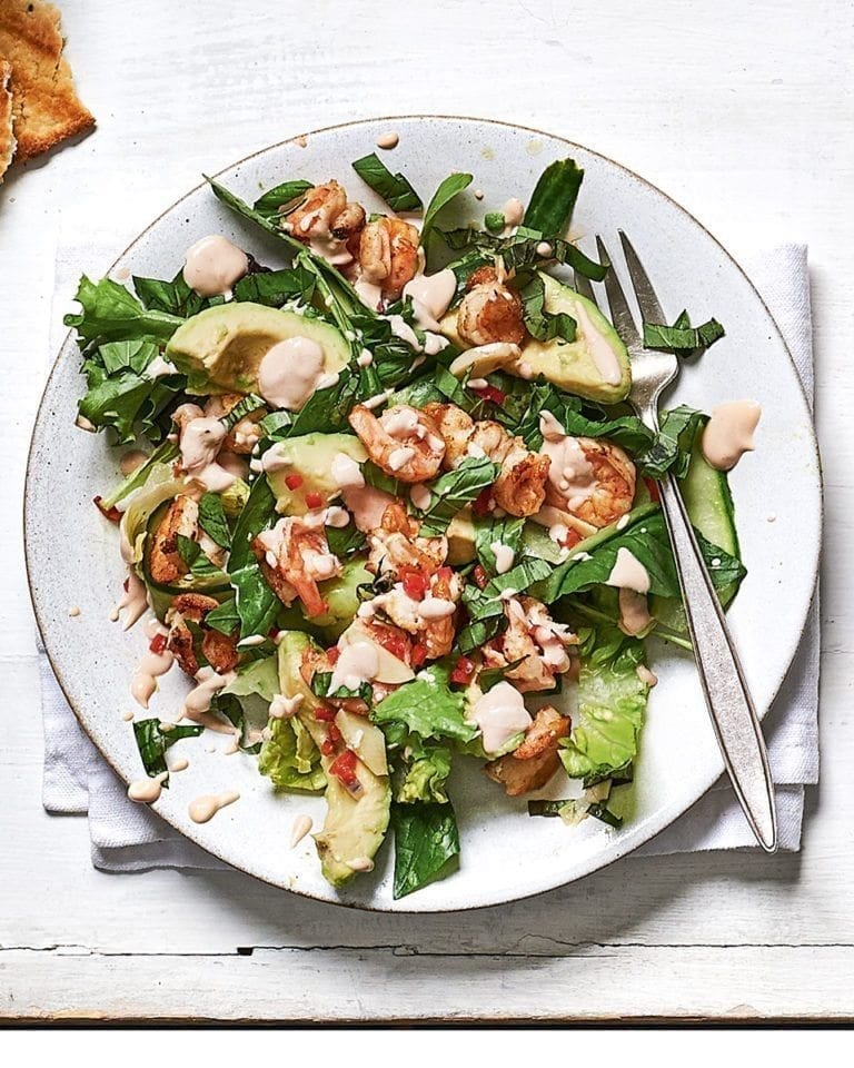 Lime, basil and chilli prawn cocktail salad