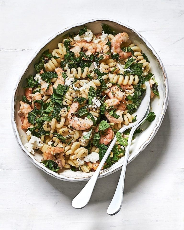 Prawn, lemon and mint pasta