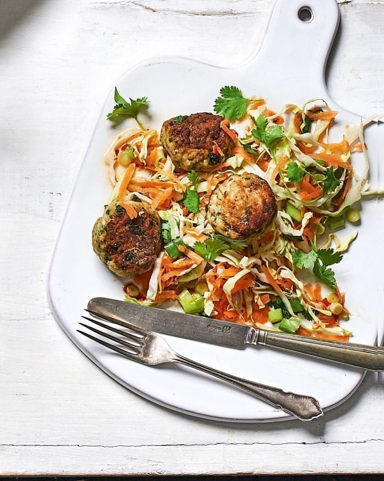 Thai prawn balls with carrot and cabbage salad