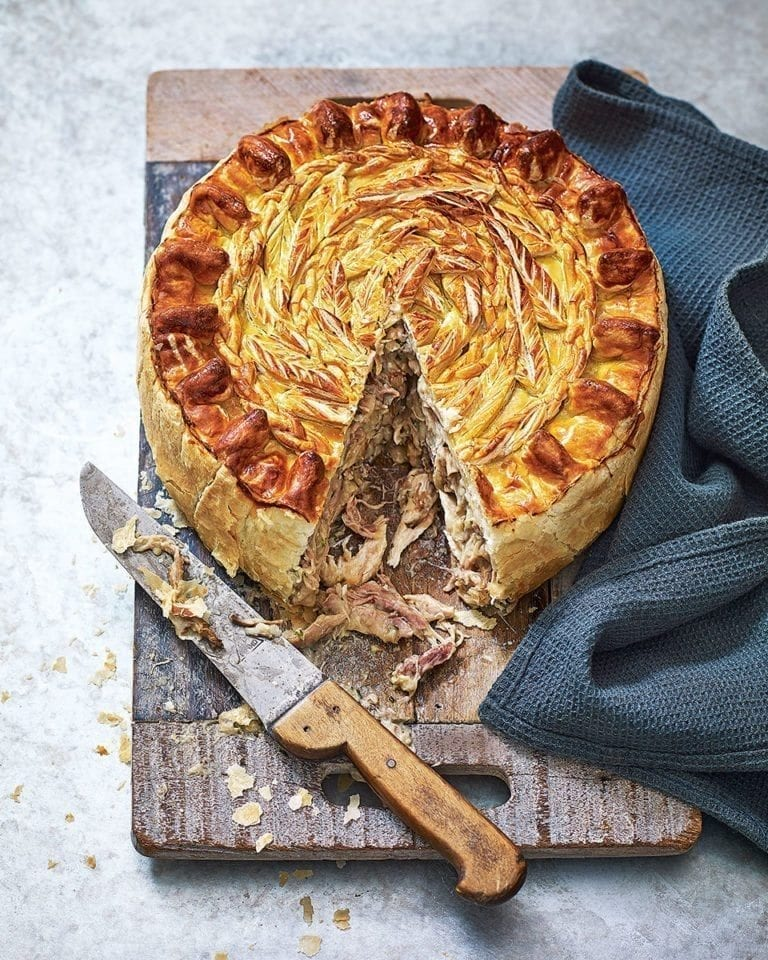 Guinea fowl and wild mushroom pie