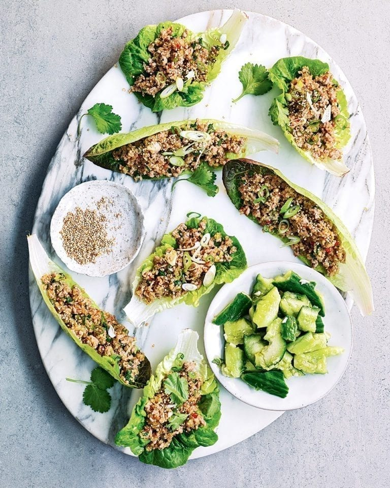 Toasted quinoa and pork mince larb with smashed cucumber