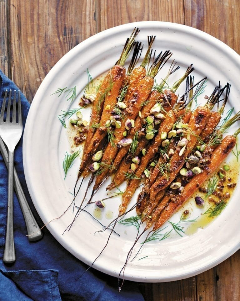 Brown-butter carrots with pistachios and dill