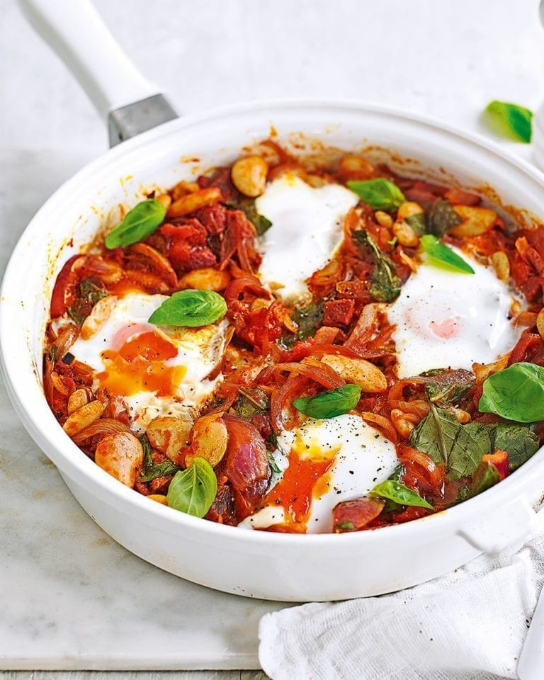 Baked eggs in spicy chorizo tomato sauce