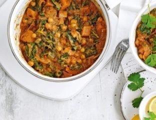 Sweet potato, okra and chickpea curry