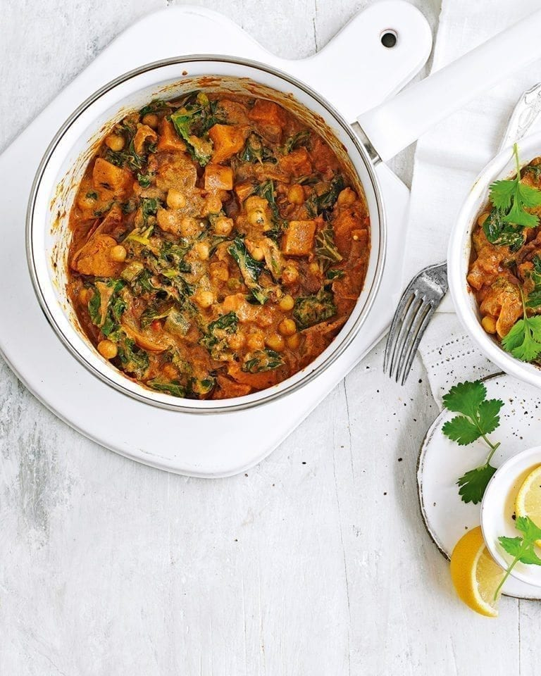 Sweet potato, okra and chickpea curry