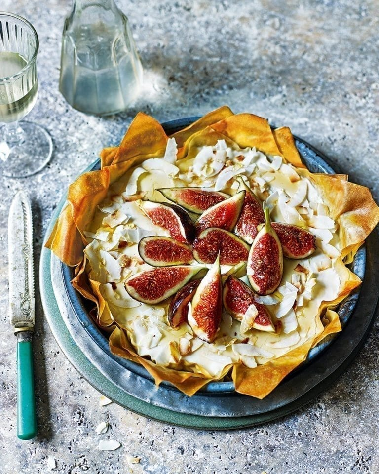 Ricotta filo tart with figs, rum and toasted coconut