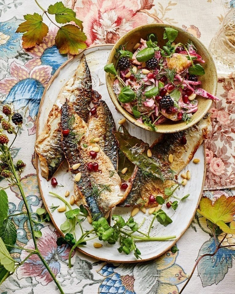 Pan-fried mackerel fillets with pear and pomegranate slaw