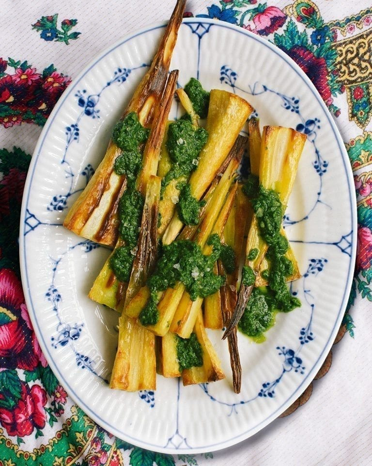 Roast parsnips with almond, sorrel and watercress sauce