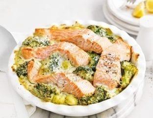 Baked salmon gnocchi