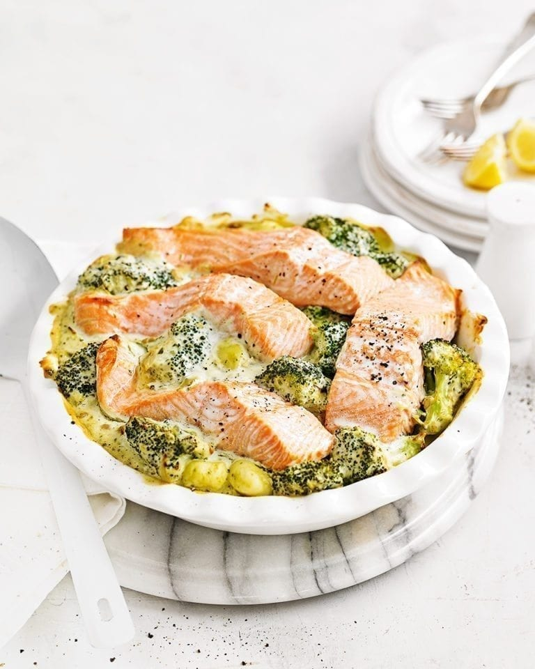 Baked salmon and gnocchi