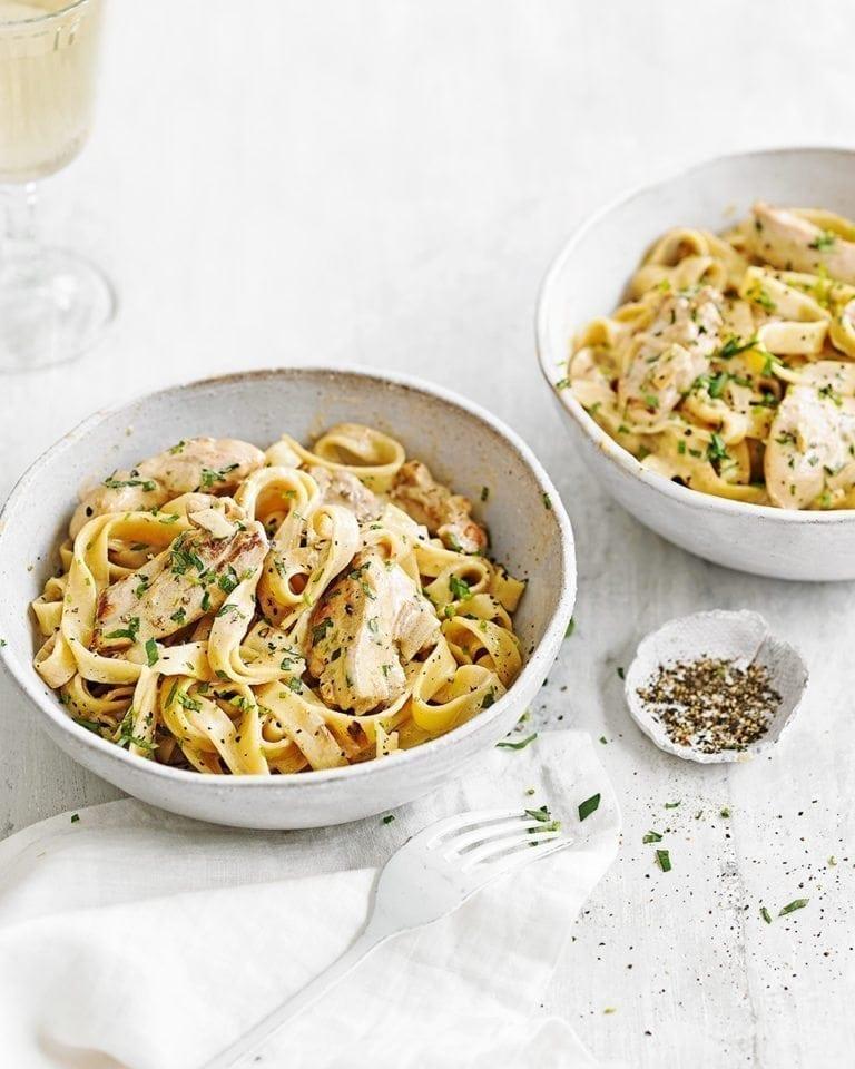 Creamy wine & mustard chicken tagliatelle | delicious. magazine
