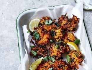 Carrot, ginger and coriander fritters