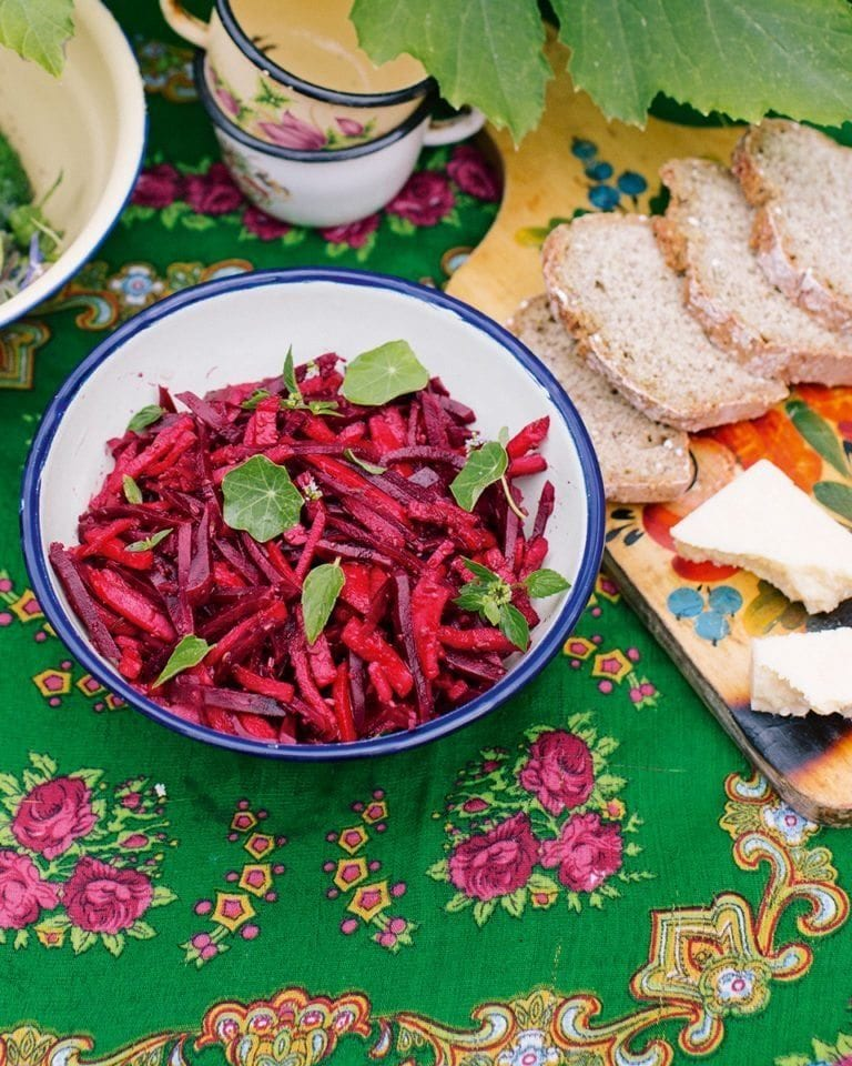Beetroot and apple pickle with caraway and coriander