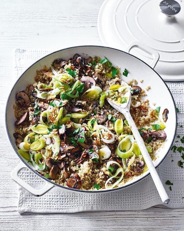 Mushroom and leek quinoa risotto