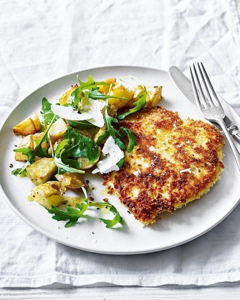 Chicken milanese with crispy potatoes and rocket