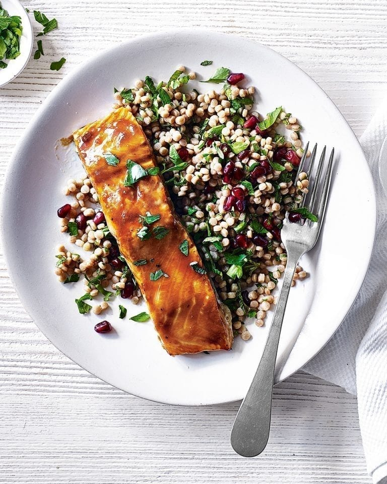 Glazed salmon with giant couscous