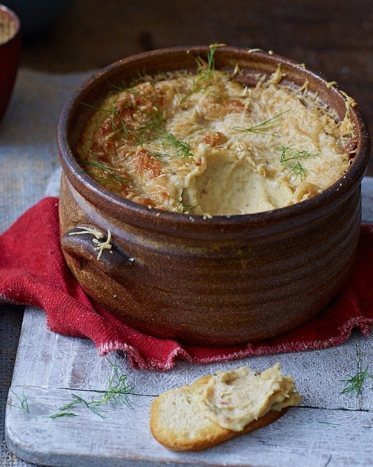 Warm fennel, butter bean and parmesan dip