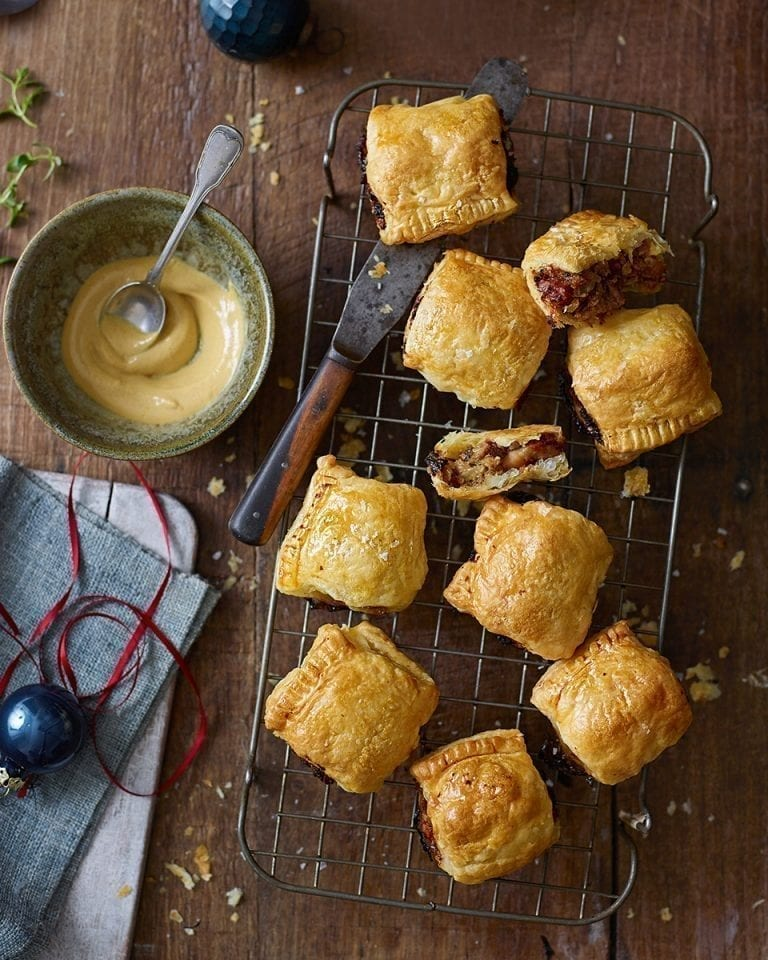 Prune and apple sausage rolls