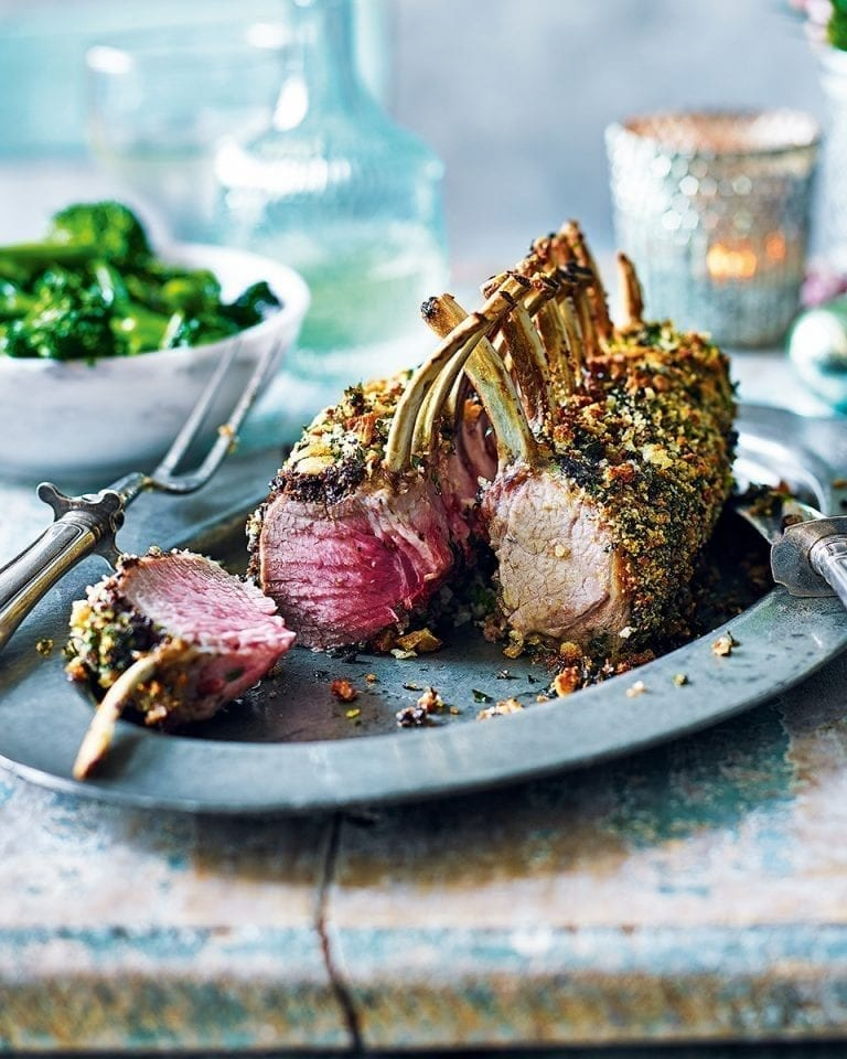 Rack of lamb with an olive and caper crust