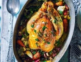 Pot roast chicken with beans (poule au pot)