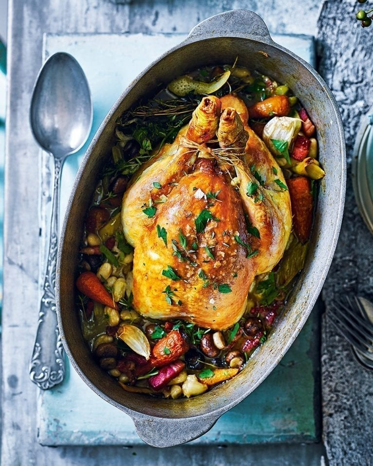 Pot Roast Chicken With Beans Poule Au Pot Recipe Delicious Magazine