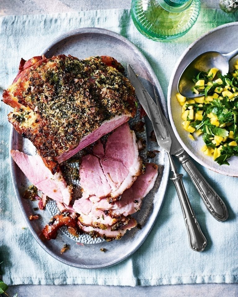 Jalapeño, coriander and lime salt crusted ham with mango salsa