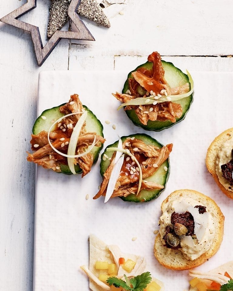 Hoisin duck on cucumber
