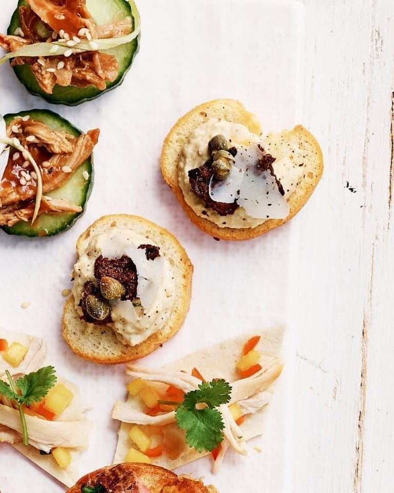 Houmous and tapenade crostini