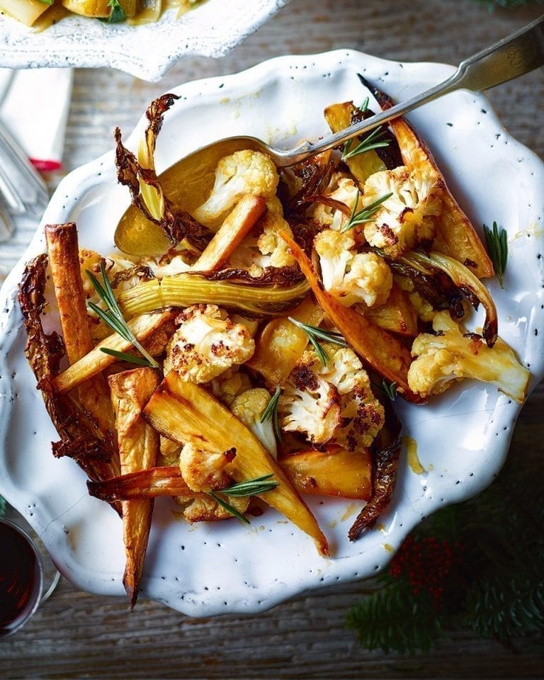Salted caramel roasted parsnips and cauliflower