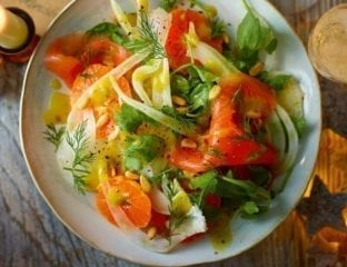 Smoked salmon, fennel and clementine salad