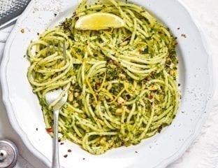 Spaghetti with kale pesto and pangrattato topping