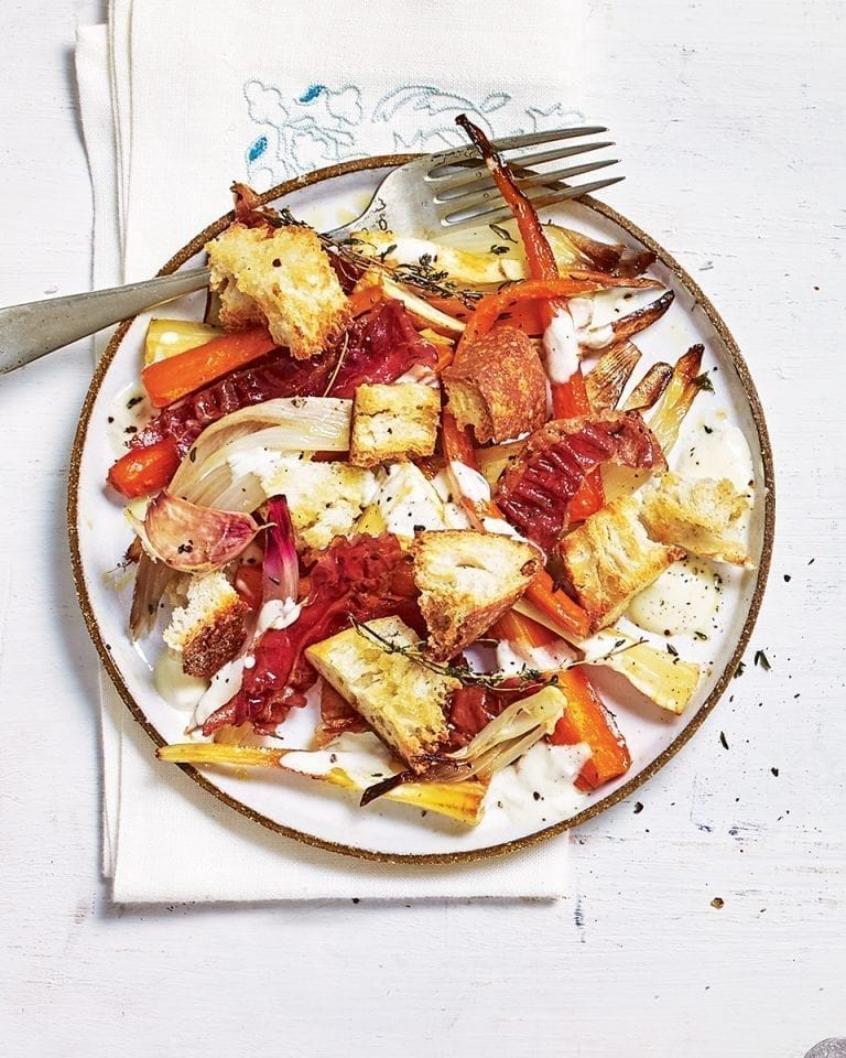 Warm root vegetable salad with parma ham