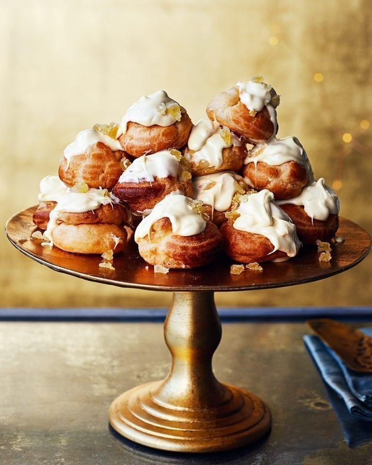 White chocolate, orange and ginger profiteroles