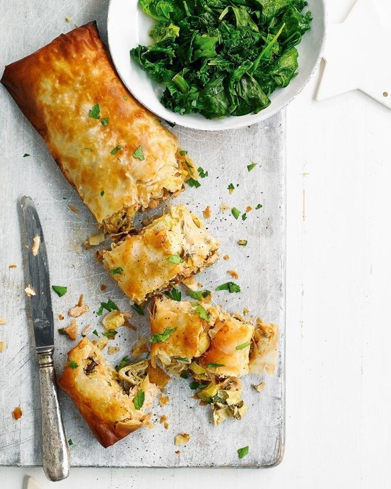 Easy smoked salmon and leek strudel