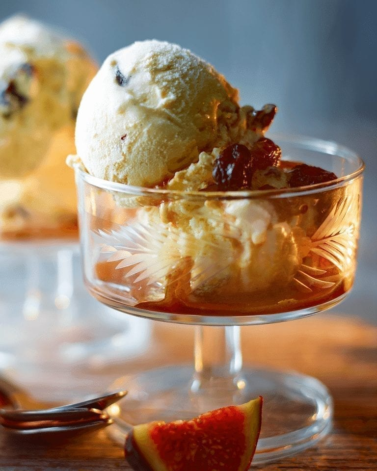 No-churn ice cream with boozy raisins
