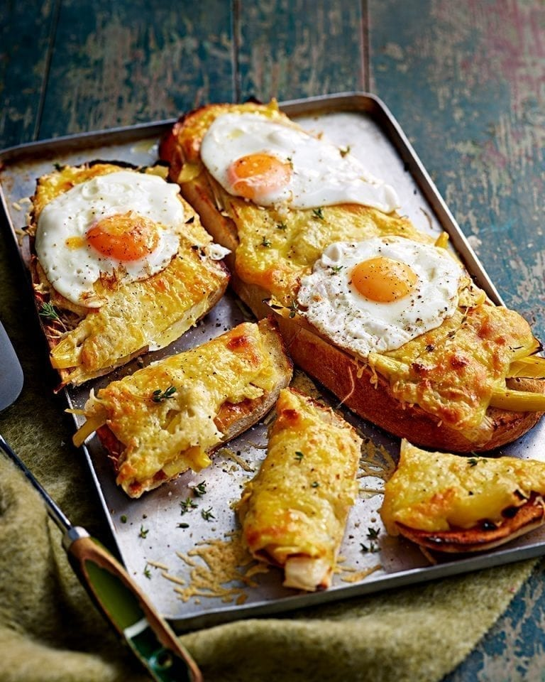 Braised leek and cheddar rarebit