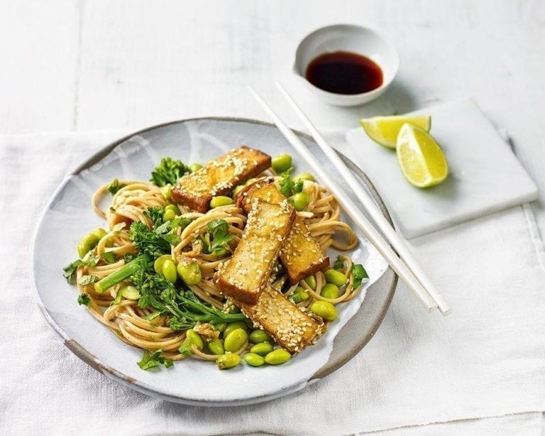 Tofu and edamame noodles