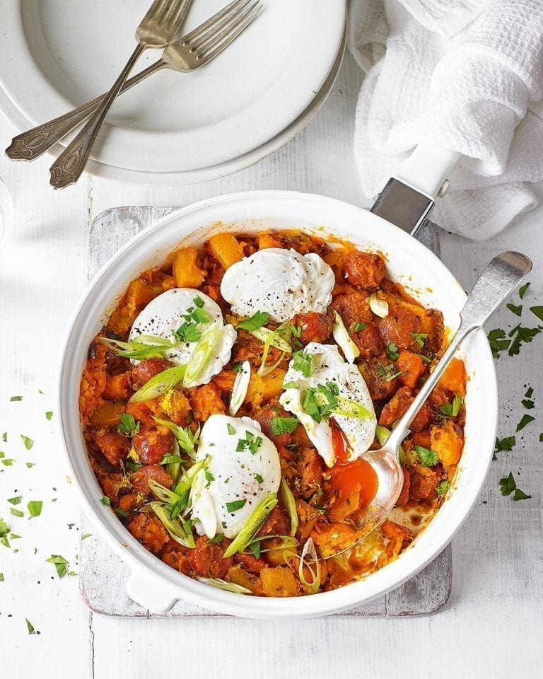 Roast sweet potato, chorizo and onion hash with poached eggs