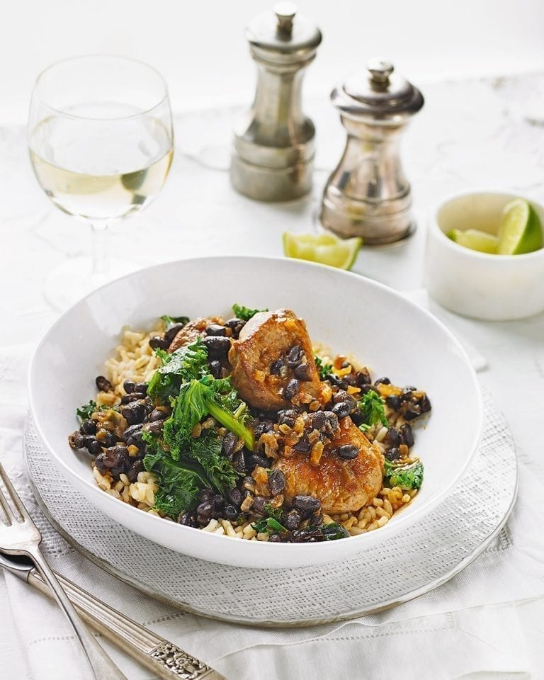 Smoky pork and black bean stew with kale