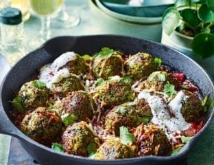 Baked chickpea and halloumi no-meat balls
