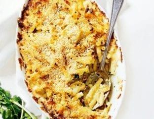 Cauliflower, pancetta and taleggio bake