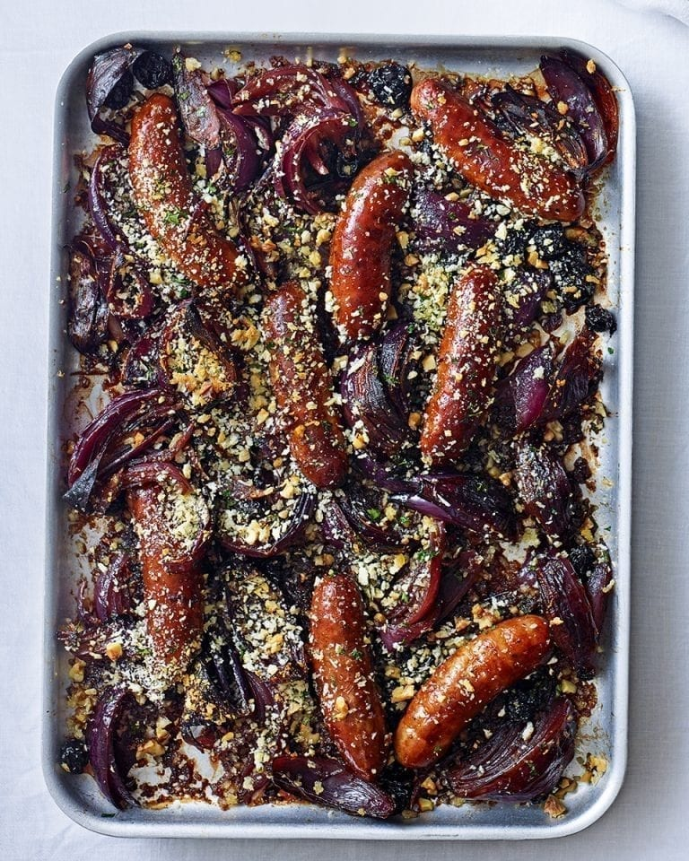 Red wine sausage bake with herby breadcrumbs