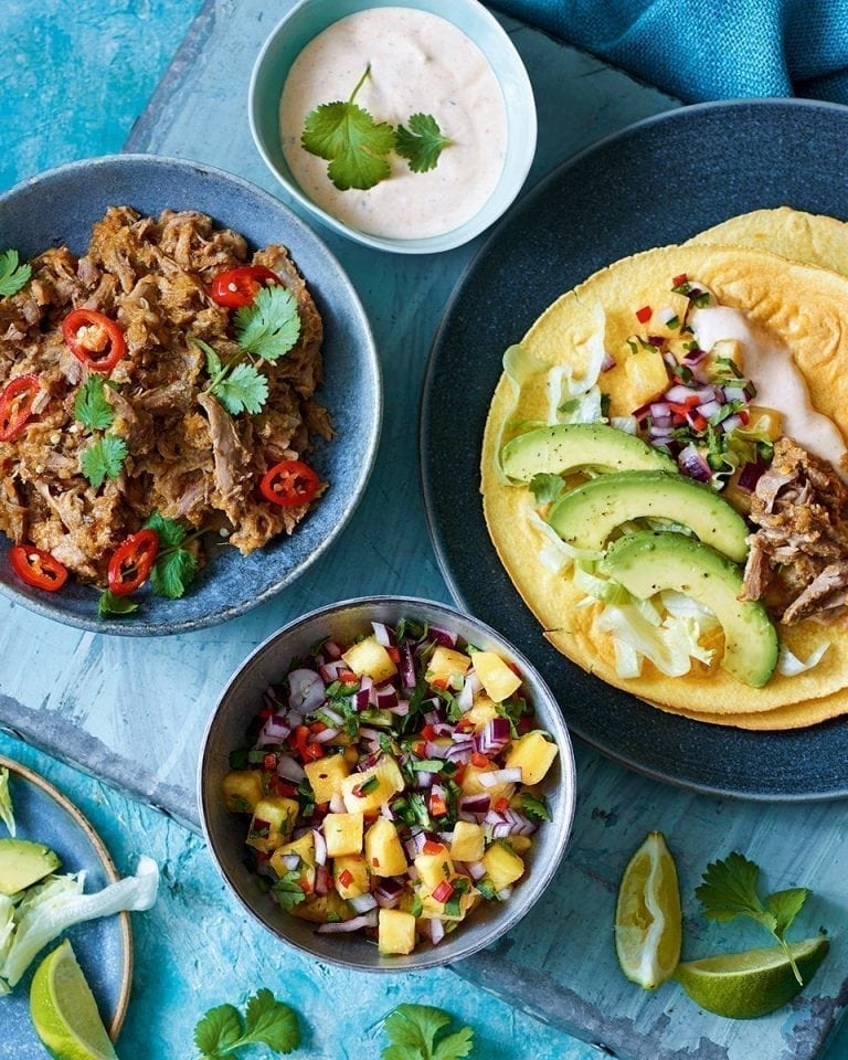 Slow-cooked duck tacos with pineapple salsa