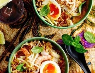 Nyonya-style chicken and coconut curry laksa